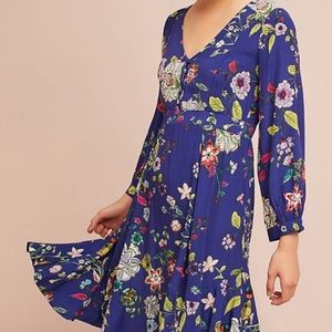 Anthropologie Maeve purple floral Maplewood dress